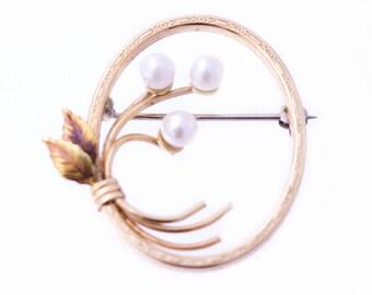 Krementz Gold Filled Pearl Brooch