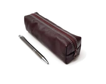 Zipper Pencil Case. Brown Leather. Leather Pencil Case. Pencil holder. Small Toiletry Bag. Small Pencil pouch. pencil case