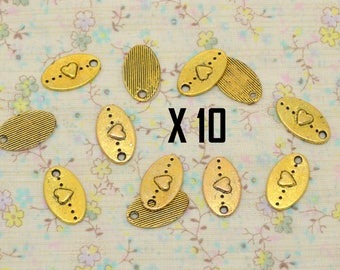 10 x oval gold metal heart charm end of chain extension chain