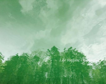 photography. art print. green. reflection.  water. Lake Allatoona