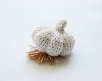 Witte knoflook - Waldorf speelgoed food - Amigurumi zacht stuk speelgoed keuken spelen voedsel voeding studies - kind veilig baby gym speelgoed foto prop - foodie cadeau