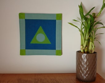 """Al-Anon Recovery Symbol Mini Quilt Wall Hanging 7"""" x 7"""" blue/green"""
