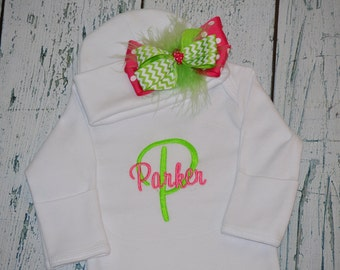 Custom Personalized Infant Gown and Cap with Bow Monogrammed Comming Home Outfit