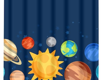 Beautiful Planet SHOWER CURTAIN, Outer Space Bathroom Decor, Space Theme, Child Boy Shower  Curtain