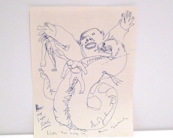 Daniel Johnston Folk Art Brut Drawing Self Taught Visionary Artist Musician Vintage 90's Dragon Super Hero Signed Artwork My Simple Song