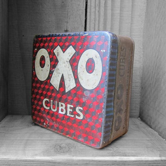 Vintage Red Oxo Tin Cubes Storage 1950s Kitchen Small Mini Tin