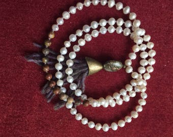 Freshwater Pearls and Picture Jasper 6mm Mala