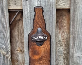 Hand Crafted Solid Pine Bottle Opener | Wood Bottle Opener with Magnetic Cap Catcher and Optional Magnetic Mount
