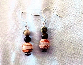 Agate earrings, striped, jasper, gift, exclusive,