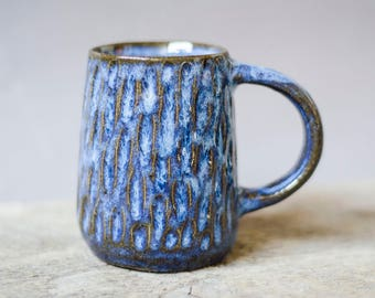 Blue Mug, Handmade Mug, Pottery Mug, Ceramic Mug, Coffee Gift, Husband Gift, Mothers Day Gift, Blue Pottery, Easter Gift, Housewarming Gift