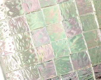 "100 1/4"" IRIDIZED ""ICE"" Mosaic Tiny Tiles  Textured Stained Glass i-1"