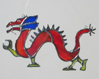 Chinese Dragon Stained Glass Suncatcher or Christmas Holidays Ornament