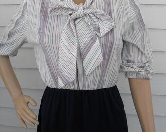 Striped Neck Bow Dress Retro Secretary Blue Pink Vintage S 8 70s Casual