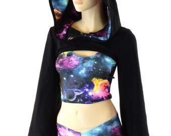 Hooded Bell Sleeve Bolero in Black Soft Knit with UV Glow Galaxy Hood Liner (Bolero Only) Rave Festival Cosplay 152254