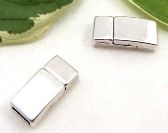 5 rectangle clasps silver plaque for flat leather 0,20 inches