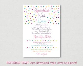 Pink Baby Sprinkle Invitation / Rainbow Sprinkles / Heart Sprinkles / Baby Girl Sprinkle / Editable PDF INSTANT DOWNLOAD A117
