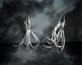 Large Hoop Earrings, Statement Hoops, Sterling Silver, Wearable Art Earrings, Unique Jewelry