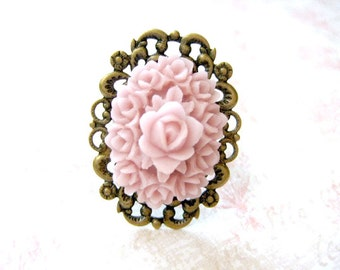 Pink Rose Ring, Pink Oval Ring, Adjustable Filigree Ring, Resin Ring, Cocktail Ring, Floral Ring, Adjustable Ring, Gift for her,