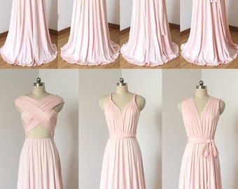 Blush Pink Spandex Long Convertible Bridesmaid Dress