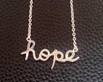 Hope necklace, sterling silver hope necklace, cursive letter, inspirational necklace