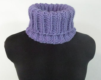 Chunky Hand Knit Cowl - Brioche Knit Neckwarmer in Periwinkle - Item 1252