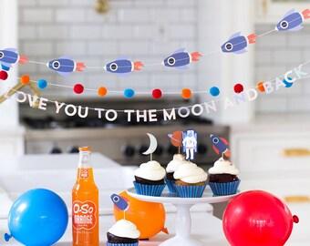 Space Birthday Party Decor | Rocket Birthday Galaxy Theme Space Birthday Decorations NASA Party Little Astronaut Outer Space Moon Stars Sun