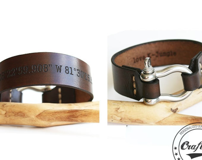 Mens Leather Bracelet, Leather Anniversary Gift for Him, Third Anniversary Gift, Shackle Bracelet, Coordinate Bracelet, Mens Personalized