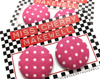 Pink and White Ditsy Polka Dot Fabric Button Rockabilly 1950's Pin Up Vintage Inspired Stud or Clip On Earrings By Miss Cherry Makewell