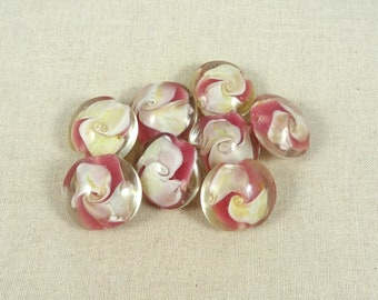 Pink Lampwork Beads, Rose Pink and White Lampwork Beads, Pink Glass Beads, Pink Focal Bead, Lamp Work Lentil Beads, 18mm Lentil  Qty 2