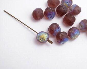 20 x 9mm Frosted Plum AB Rosebud Czech Glass Beads, Rosebud Beads, Purple Flower Beads, AB Glass Beads FLW0201