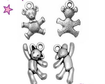4 3D Teddy bear / 19 and 17 mm bear sterling silver