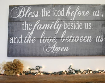 Bless The Food Pallet Sign Dining Room Sign Kitchen Sign Gray Home Decor Wall Decor Distressed Wood Shabby Chic Decor Wedding Gift