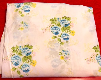 Vintage Cotton Fitted Sheet Blue Cabbage Roses Floral Crib Sheet or Twin