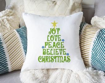 Pillow,White,Embroidered, Joy, Love, Peace, Believe, Christmas, Christmas Gift,Throw Pillow,Christmas Decor, Decorative Pillow, Custom