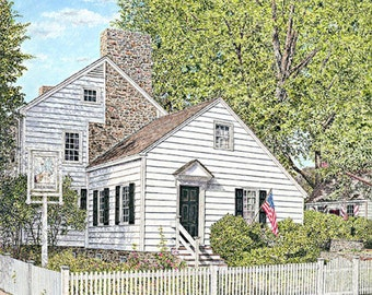 Americana Painting - Historic Building - Giclee Canvas Print - Fine Art Print - Summer Painting - White Building - Bright Painting