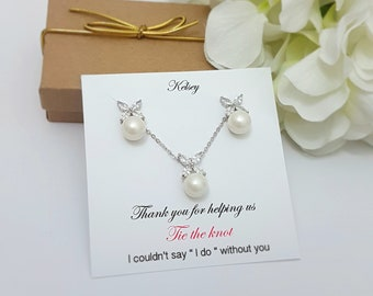 Bridesmaid Gift Pearl & Crystal Necklace Earrings Set Proposal CardWedding Jewelry Set Bridesmaids' Gifts set In Box Set of 4,5,6,7,8,9,10