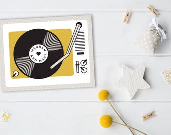 For the Record Save the Date Cards // Record the Date Record Player Moonrise Kingdom Vintage Retro Beige Mustard Music Themed Whimsical Fun