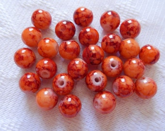 26  Orange & Rust Veined Round Ball Glass Beads  8mm