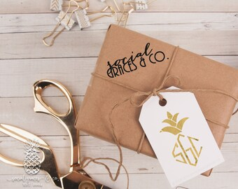 Party Like a Pineapple Monogram Wedding Favors | Letterpress Foil Gift Tags | Bride Groom Gifts | social graces co