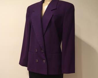 Vintage, Ladies, Albert Nipon, 100% Wool, Double Breasted Purple Blazer, Jacket, Size 12