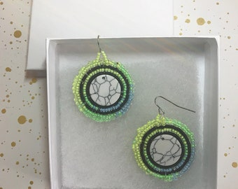 Neon and Marble earrings