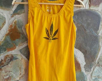 Cannabis Leaf Tank, Hand Stamped Upcycled.