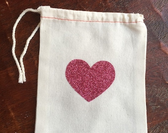 Pink glitter heart cotton muslin drawstring favor bags - wedding, bridal shower, baby shower, birthday loot bag