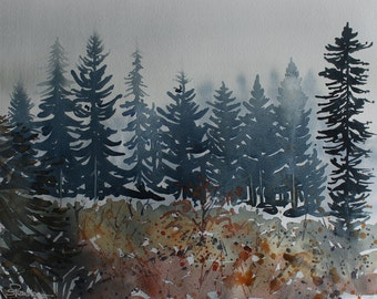 Original watercolour landscape of early morning mist, forest trees, autumn painting, autumnal art, woodland, fog and mist, pine trees