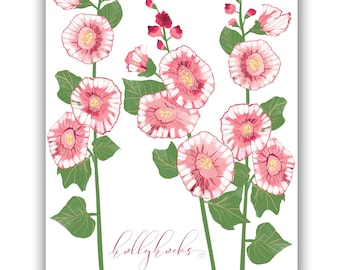 Pink Hollyhock clipart clip art Hollyhock wall art printable Wedding invitation clipart Hollyhock botanical print pink floral clipart pink