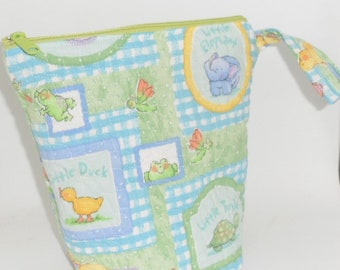 BABY SHOWER GIFT/Handmade Quilted Fabric Zipper Bag/Cute Baby Novelty Cotton Fabric Bag with Zipper and Wristlet Handle/Baby Shower Gift