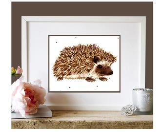 HEDGEHOG Print, kids decor, children art, hedgehog, cute hedgehog, art prints under 25