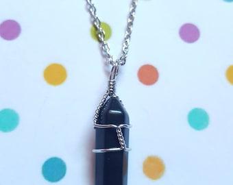 Black agate necklace, Gemstone necklace, Gemstone bullet pendant, Pendant necklace, Gemstone jewellery, Black agate, Black agate pendant