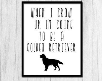 Golden Retriever Art Print Dog Printable Art Golden Retriever Print Golden Retriever Cute Dog Print Cute Dog Printable Golden Retriever