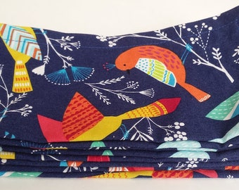 Large Cloth Napkins, Set of Four - Colorful Birds // Everyday Napkins // Family Napkins // Eco Friendly // Hostess Gift // Housewarming